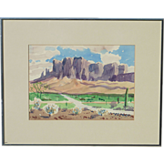 Martin Louis Linsey (1915 - 2010) American artist Arizona Superstition Mountains desert landscape watercolor painting