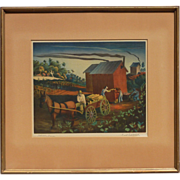 Buell Lee Whitehead (1919 - 1994) American Florida artist color lithograph print pencil signed