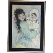 Koros oil on canvas painting of two young children or mother and child