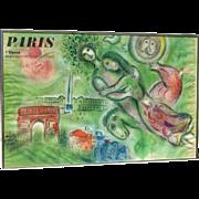Marc Chagall (1887 -1985) color lithograph poster  Paris L'Opera