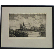 1922 Paris Edouard Leon French artist original etching signed RARE