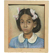 Rose Kleidman (1908 -1996) listed American artist portrait of a young African American girl