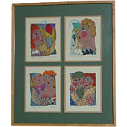 Kathy Donahey (1942-) four original mixed media whimsical drawings paintings by recognized contemporary artist