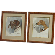 PAIR Jean Herblet (1893 - 1985) French listed artist cartoonist watercolor paintings of a hunting dogs and birds