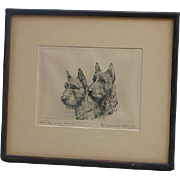 "Marguerite Kirmse (1885 -1954) American well listed artist ""Darby and Joan"" etching print Scottish Terrier dogs"