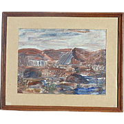 California or South West impressionist landscape painting signed Jennie Mack