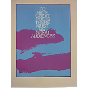"""Sister Mary Corita Kent (1918- 1986) hand signed lithograph print """"TO HAVE GREAT POETS THERE MUST BE GREAT AUDIENCES"""""""