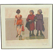 """Aldo Luongo (1940 -) pencil signed limited edition art serigraph print """"Different Point of View"""""""