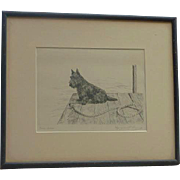 "Marguerite Kirmse (1885 -1954) American well listed artist ""Gaeu Awa"" etching print Scottish Terrier dog"