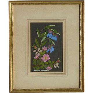 Jeanne Laurence (1887-1980) American Alaskan artist small still life flowers painting