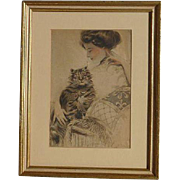Cat art circa 1910 watercolor painting of a young lady with the cat signed J. I. Disney