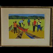 Djanira Motta e Silva (1914 - 1979) Brazilian well listed artist color serigraph of fishermen signed