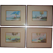Set of FOUR Reinaldo Manzke (1906 - 1980) well listed Brazilian artist gouache paintings of landscape with boats  buildings seascape