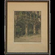 Luigi Kasimir (1888 -1962) Austrian Hungarian artist original etching Bruck Kornmesserhaus pencil signed