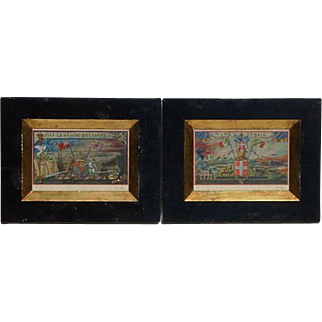 PAIR of signed 1917 gouache paintings of heraldic England and Italy subject matters