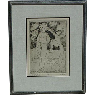 Farewell to Picasso original etching of a two nude women in a landscape signed BROSME