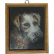 Small 1936 Fox Terrier dog portrait pastel drawing signed Wilson