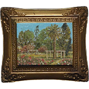 D. Lindman California small oil on board painting of flowering garden with palm and trees