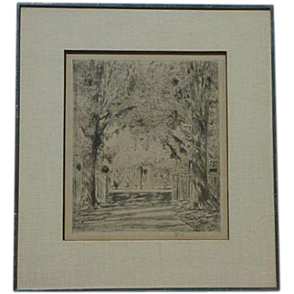 Frederick Childe Hassam (1859 -1935) important American impressionist artist etching print of East Hampton
