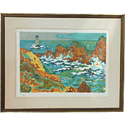 Guy Charon (1927 -) French post impressionist artist color lithograph pencil signed seascape lighthouse