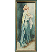 A. MacDonald old watercolor painting of a mother holding her child baby