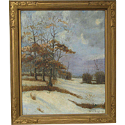 Arthur Diggs (1888 -) American listed artist tonalist oil painting of a landscape with trees and snow spring time