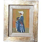 Rodolfo Marma (1923 - 1997) Italian well listed artist oil painting of a nun with the children