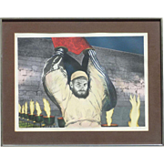 "Sandu Liberman (1923 - 1977) Romanian Israeli listed artist pencil signed lithograph ""Flame at Wall"" Judaica art"