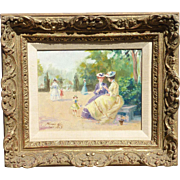 Luis Ramon 19th century style oil painting of Paris park landscape with women and children
