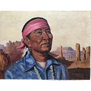 Roy Hampton (1923 - 1997) Southwestern art portrait of native American man by Disney artist