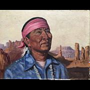 Roy Hampton (1923 - 1997) Southwestern art portrait of native American man by Disney artist