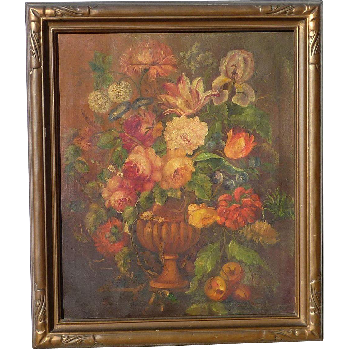 Dorothy Kimball American Artist Floral Still Life Oil On Canvas From Dg On Ruby Lane