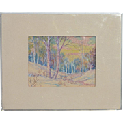 Alba Malm Dahlquist (1897 -1986) listed American Kansas artist landscape watercolor painting