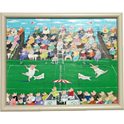 Whimsical painting of tennis playing pigs at Wimbledon by California artist Diana Willson