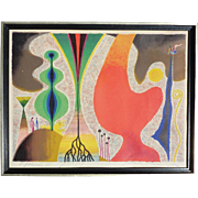 Yohanan Simon (1905-1976) important Israeli artist rare pencil signed color lithograph print