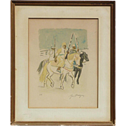 Yves Brayer (1907 -1990) French well listed artist orientalist color lithograph print pencil signed Moroccan horse riders