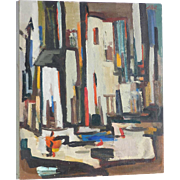 """""""Antoni"""" colorful abstract mid century oil on canvas painting city scene"""