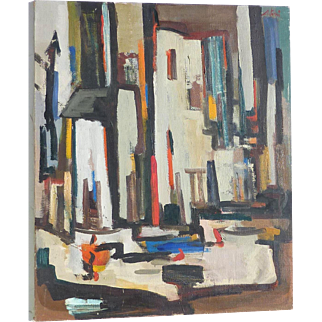 """Antoni"" colorful abstract mid century oil on canvas painting city scene"