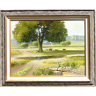 Large painting by Bill Shaddix (1931 -) American listed artist impressionist oil on masonite painting country scene with tree ountains