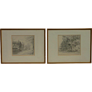 Pair of English signed Leonard Syrett fine pencil drawings of suburban London Claygate dated 1933