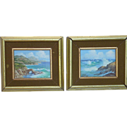 Pair SMALL Gloria K. Williams Laguna Beach California Artist Seascape coastal scene oil paintings