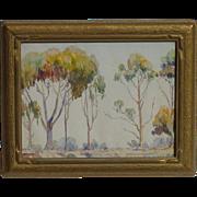 Stella M. Gammon (1895 - 1990) American California listed artist plein air eucalyptus trees on hilltop watercolor painting