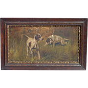 Dog sporting art two English Pointer dogs outdoor scene old oil painting