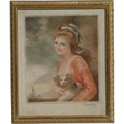 Old mezzotint print of Lady Hamilton as NATURE after George Romney painting signed in pencil L.Dupont