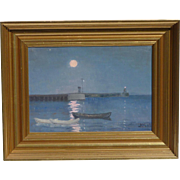Moonlight landscape with a boats and lighthouse in the sea oil on canvas painting signed in initials dated 1909