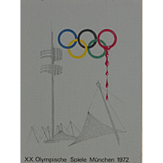 Modern signed AUGUSTSON 1973 drawing commentary on 1972 Munich olympic massacre poster