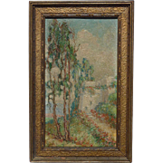 Small California plein air impressionist landscape with eucalyptus trees painting