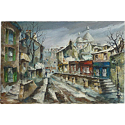 Andre Besse (1922 - 2004) Canadian listed artist French art Paris Montmartre street scene modern impressionist oil painting