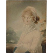 Old watercolor painting of a young women lady in a landscape circa 1800