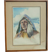 Native American Arapahoe watercolor painting signed